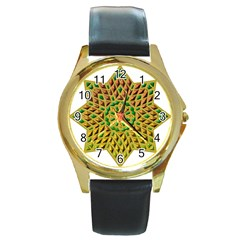 Star Pattern Tile Background Image Round Gold Metal Watch