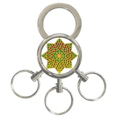 Star Pattern Tile Background Image 3 Ring Key Chains