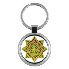 Star Pattern Tile Background Image Key Chains (round)