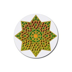 Star Pattern Tile Background Image Rubber Coaster (round)