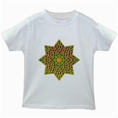 Star Pattern Tile Background Image Kids White T-Shirts