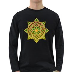 Star Pattern Tile Background Image Long Sleeve Dark T Shirts