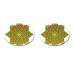 Star Pattern Tile Background Image Cufflinks (oval)