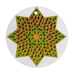 Star Pattern Tile Background Image Round Ornament (two Sides)