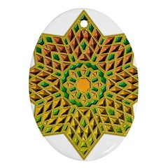 Star Pattern Tile Background Image Oval Ornament (two Sides)