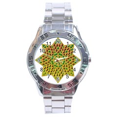 Star Pattern Tile Background Image Stainless Steel Analogue Watch
