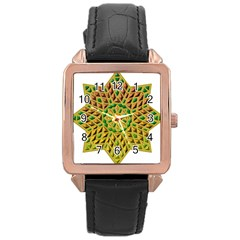 Star Pattern Tile Background Image Rose Gold Leather Watch