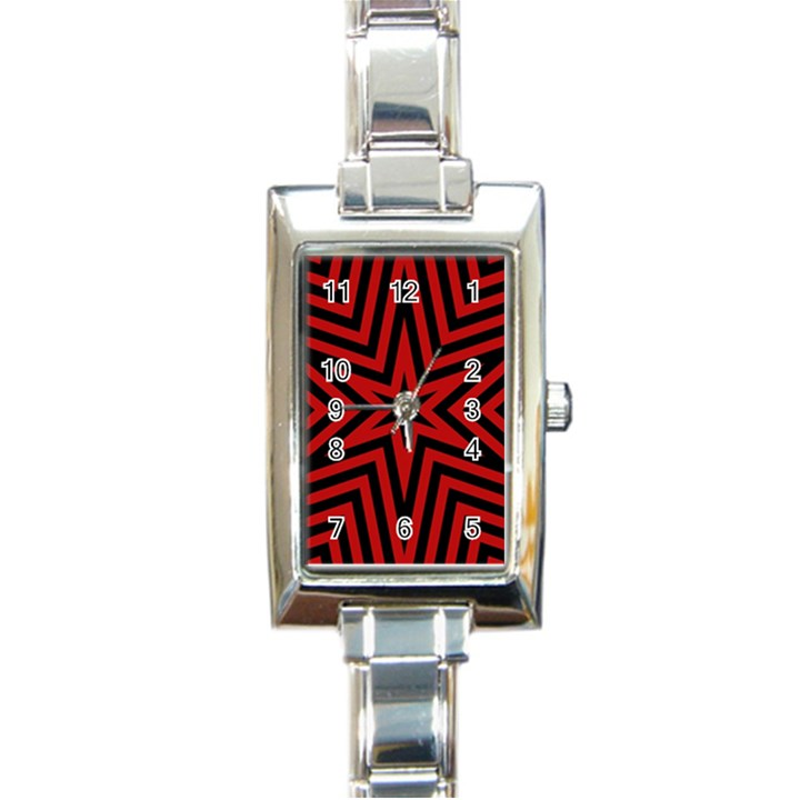 Star Red Kaleidoscope Pattern Rectangle Italian Charm Watch
