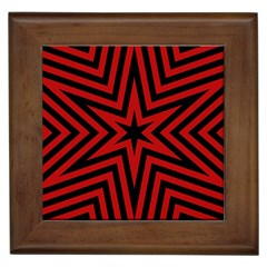 Star Red Kaleidoscope Pattern Framed Tiles