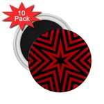 Star Red Kaleidoscope Pattern 2.25  Magnets (10 pack)  Front