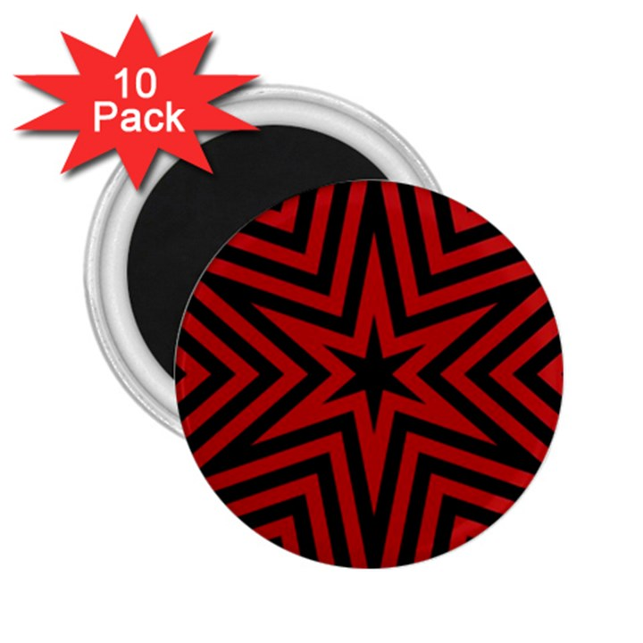 Star Red Kaleidoscope Pattern 2.25  Magnets (10 pack)