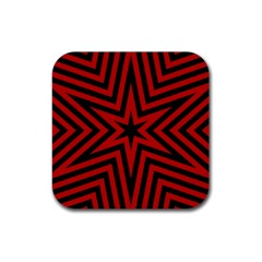 Star Red Kaleidoscope Pattern Rubber Coaster (square)