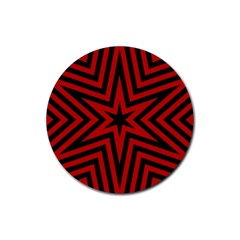 Star Red Kaleidoscope Pattern Rubber Round Coaster (4 pack)
