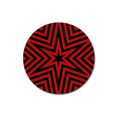Star Red Kaleidoscope Pattern Magnet 3  (round)