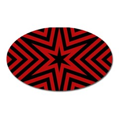 Star Red Kaleidoscope Pattern Oval Magnet