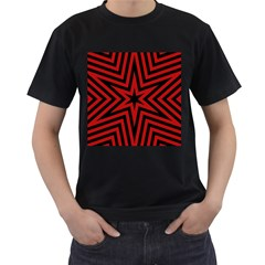 Star Red Kaleidoscope Pattern Men s T Shirt (black) (two Sided)