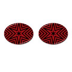 Star Red Kaleidoscope Pattern Cufflinks (oval)
