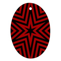 Star Red Kaleidoscope Pattern Oval Ornament (two Sides)