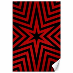 Star Red Kaleidoscope Pattern Canvas 12  x 18