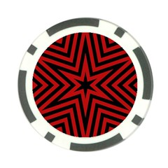 Star Red Kaleidoscope Pattern Poker Chip Card Guard (10 Pack)