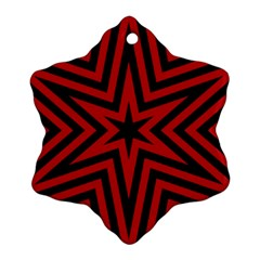 Star Red Kaleidoscope Pattern Snowflake Ornament (two Sides)