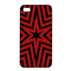 Star Red Kaleidoscope Pattern Apple Iphone 4/4s Seamless Case (black)