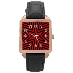 Star Red Kaleidoscope Pattern Rose Gold Leather Watch