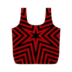 Star Red Kaleidoscope Pattern Full Print Recycle Bags (m)
