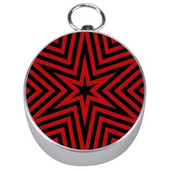 Star Red Kaleidoscope Pattern Silver Compasses