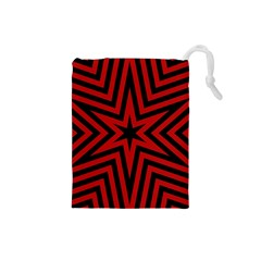 Star Red Kaleidoscope Pattern Drawstring Pouches (small)