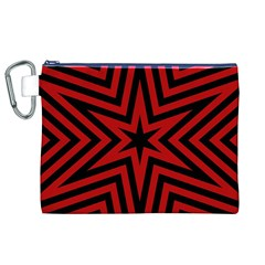 Star Red Kaleidoscope Pattern Canvas Cosmetic Bag (xl)