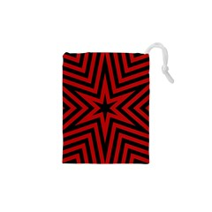 Star Red Kaleidoscope Pattern Drawstring Pouches (xs)