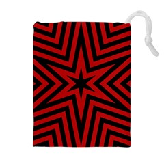 Star Red Kaleidoscope Pattern Drawstring Pouches (extra Large)