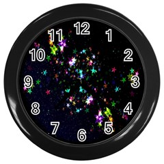 Star Structure Many Repetition Wall Clocks (black)