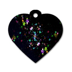 Star Structure Many Repetition Dog Tag Heart (Two Sides)