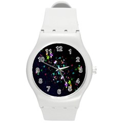 Star Structure Many Repetition Round Plastic Sport Watch (m)