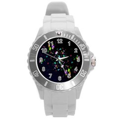 Star Structure Many Repetition Round Plastic Sport Watch (l)