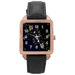 Star Structure Many Repetition Rose Gold Leather Watch