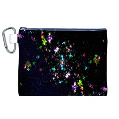 Star Structure Many Repetition Canvas Cosmetic Bag (xl)