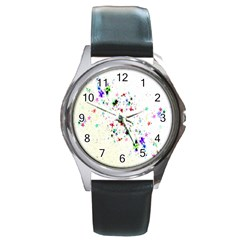 Star Structure Many Repetition Round Metal Watch