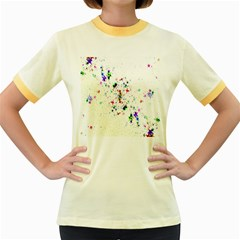 Star Structure Many Repetition Women s Fitted Ringer T Shirts