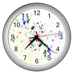 Star Structure Many Repetition Wall Clocks (silver)