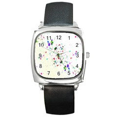 Star Structure Many Repetition Square Metal Watch