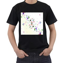 Star Structure Many Repetition Men s T Shirt (black) (two Sided)