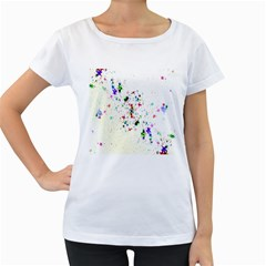 Star Structure Many Repetition Women s Loose Fit T Shirt (white)