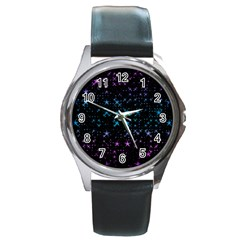Stars Pattern Seamless Design Round Metal Watch