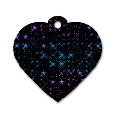 Stars Pattern Seamless Design Dog Tag Heart (one Side)