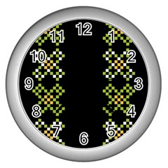 Vintage Pattern Background  Vector Seamless Wall Clocks (Silver)