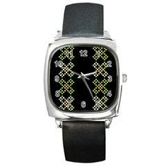 Vintage Pattern Background  Vector Seamless Square Metal Watch