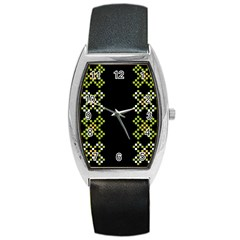 Vintage Pattern Background  Vector Seamless Barrel Style Metal Watch